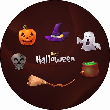 Painel de Festa Redondo em Tecido Sublimado Happy Halloween