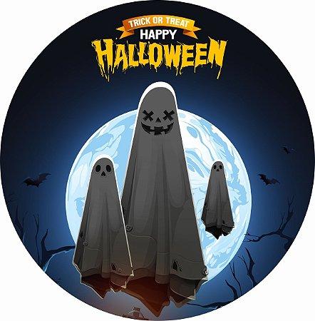 Painel de Festa Redondo em Tecido Sublimado Travessuras de Halloween