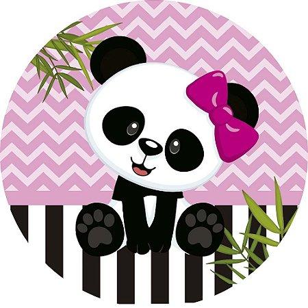 Painel de Festa Redondo em Tecido Sublimado Folhas e Linda Panda