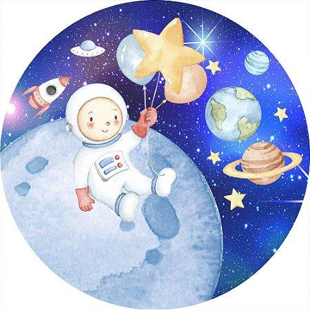 Painel de Festa Redondo em Tecido Sublimado Lindo Astronauta