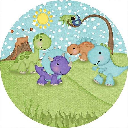 Painel de Festa Redondo em Tecido Sublimado Dinossauros Roar Cute