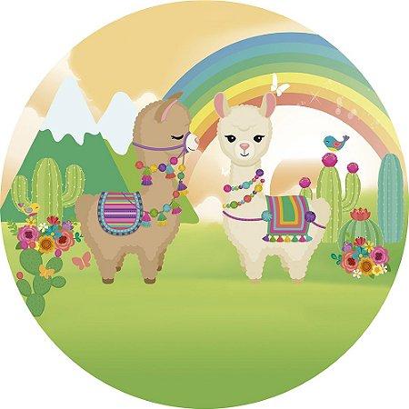 Painel de Festa Redondo em Tecido Sublimado Lhama Arco-íris