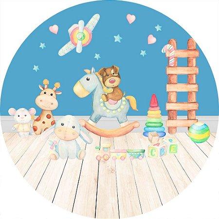Painel de Festa Redondo em Tecido Sublimado Quarto dos Brinquedos