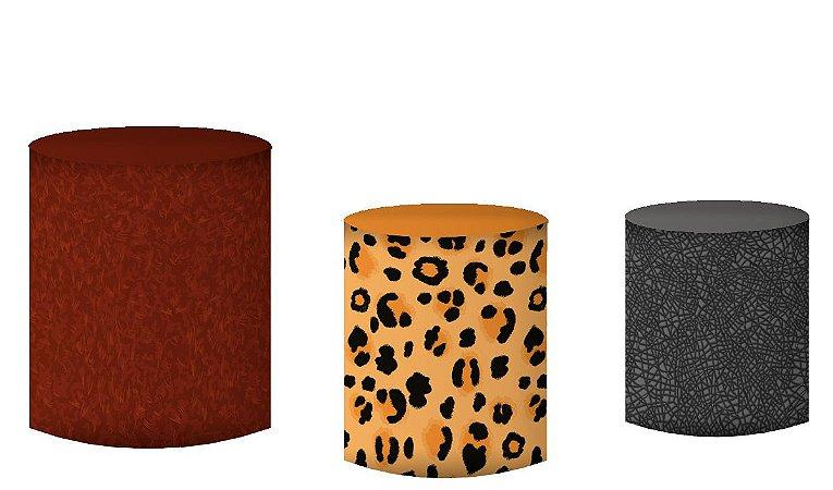 Kit Capas de Cilindro de festa em tecido sublimado Animais do Safari
