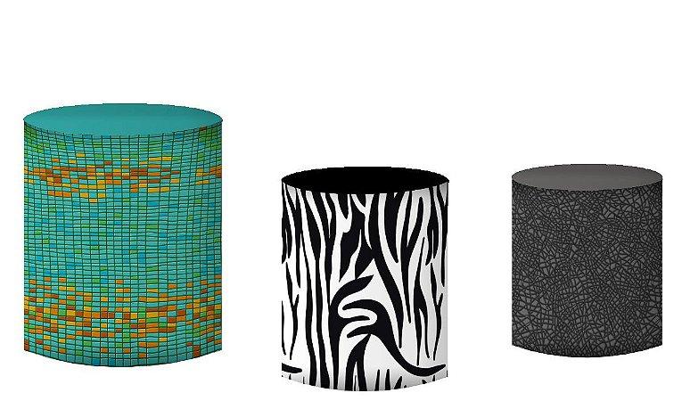 Kit Capas de Cilindro de festa em tecido sublimado Textura Animais do Safari