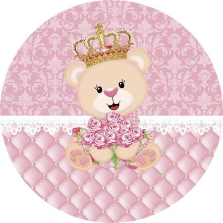 Painel de Festa Redondo em Tecido Sublimado Ursinha Princesa Realeza