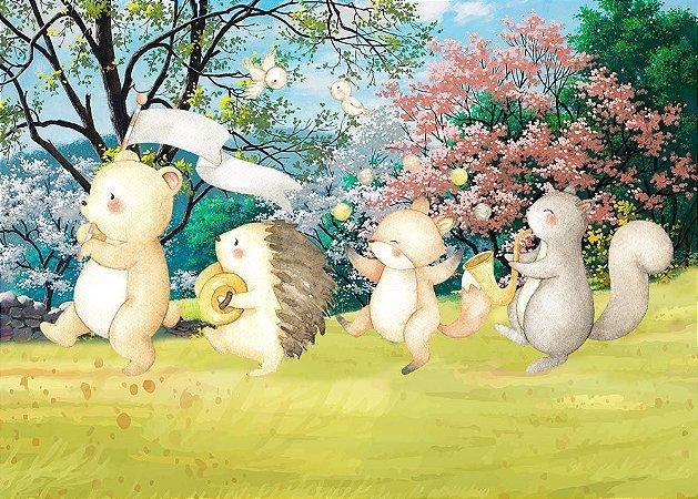 Painel de Festa em Tecido Sublimado 3d Desfile Bosque Primavera
