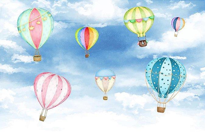 Painel de Festa em Tecido Sublimado 3d Balões Coloridos Aquarelas