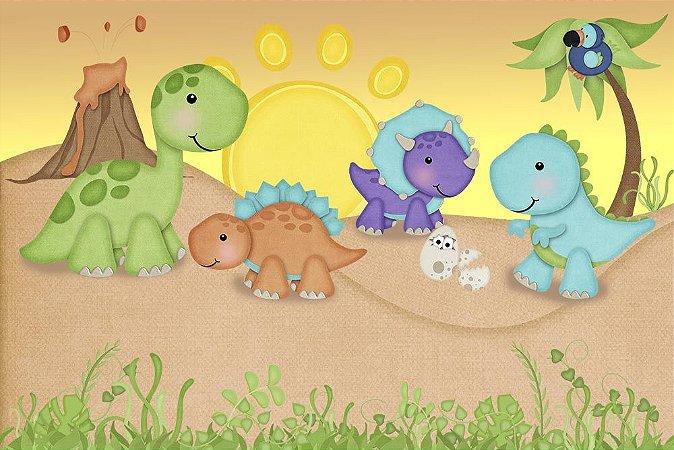 Painel de Festa em Tecido Sublimado 3d Dinossauros Roar Pôr do Sol