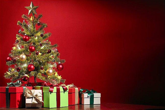 Painel de Festa em Tecido Sublimado 3d Caixas e Presentes de Natal