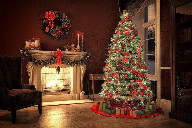 Painel de Festa em Tecido Sublimado 3d Pinheiro Encantado de Natal