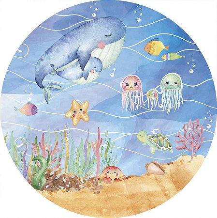 Painel de Festa Redondo em Tecido Sublimado Fundo do Mar Aquarelado