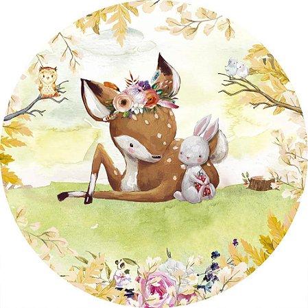 Painel de Festa Redondo em Tecido Sublimado Cervo e Coelhinho do bosque