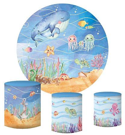Kit Painel Redondo De Festa e Capas de Cilindro em tecido sublimado Fundo do Mar Aquarelado