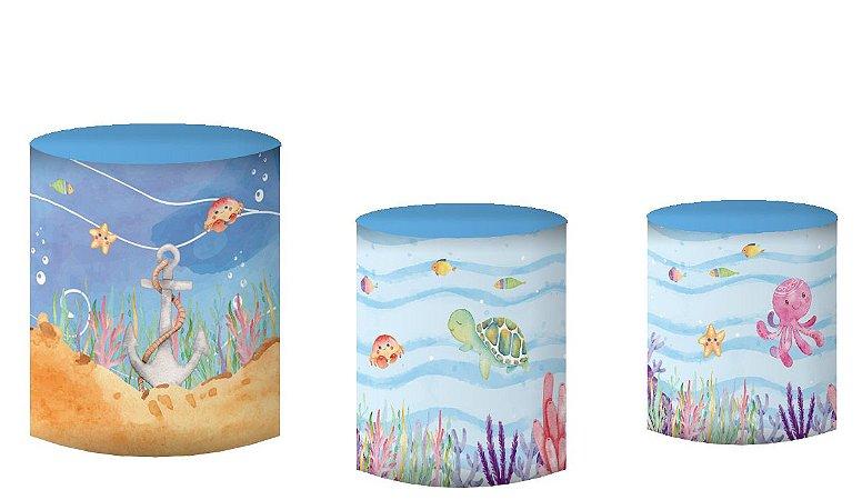 Kit Capas de Cilindro de festa em tecido sublimado Fundo do Mar aquarelado