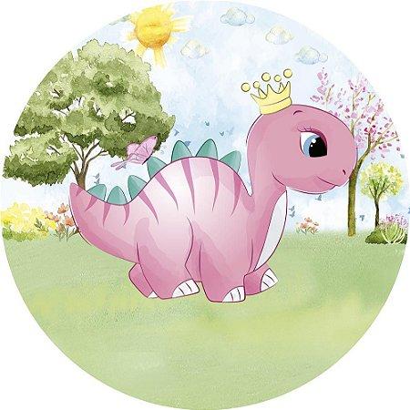 Painel de Festa Redondo em Tecido Sublimado Dino Cute Rosa