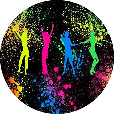 Painel de Festa Redondo em Tecido Sublimado Balada Neon