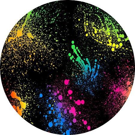 Painel de Festa Redondo em Tecido Sublimado Fundo Neon