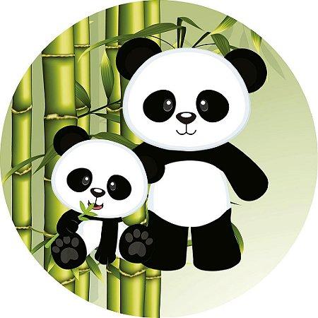 Painel de Festa Redondo em Tecido Sublimado Mamãe Panda