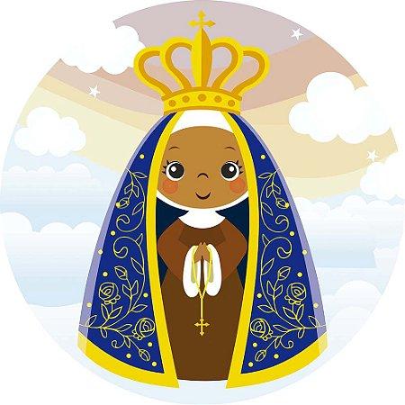 Painel de Festa Redondo em Tecido Sublimado Nossa Senhora