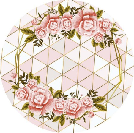 Painel de Festa Redondo em Tecido Sublimado Geométrico Cores Rosé