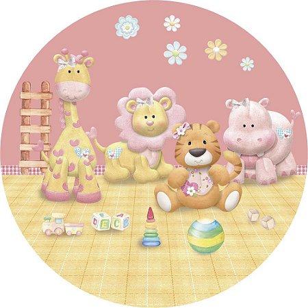 Painel de Festa Redondo em Tecido Sublimado Safari Rosa e Brinquedos