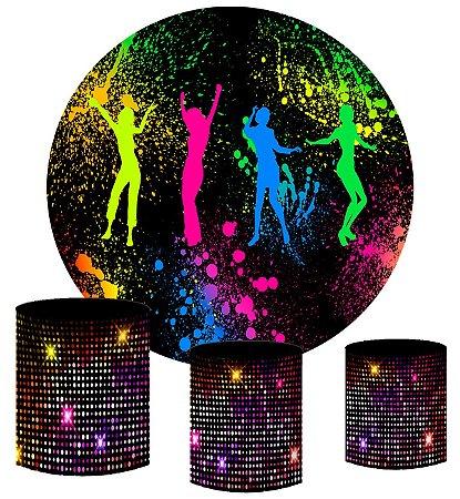 Kit Painel Redondo De Festa e Capas de Cilindro em tecido sublimado Noite Balada Neon
