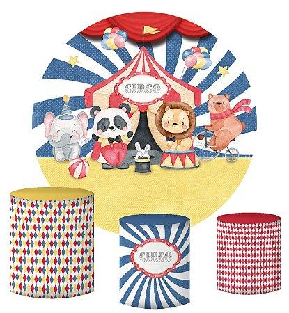 Kit Painel Redondo De Festa e Capas de Cilindro em tecido sublimado Circo Bichinhos Aquarela