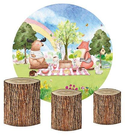 Kit Painel Redondo De Festa e Capas de Cilindro em tecido sublimado Piquenique Bosque
