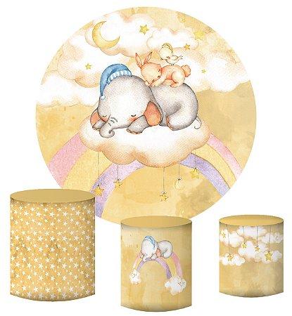 Kit Painel Redondo De Festa e Capas de Cilindro em tecido sublimado Elefantinho Lindos Sonhos