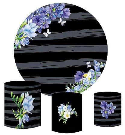 Kit Painel Redondo De Festa e Capas de Cilindro em tecido sublimado Flores Roxas