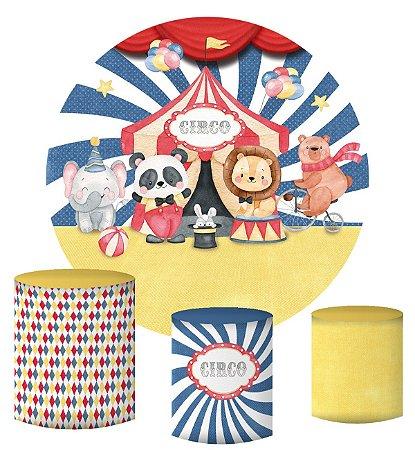 Kit Painel Redondo De Festa e Capas de Cilindro em tecido sublimado Circo Bichinhos Aquarelados