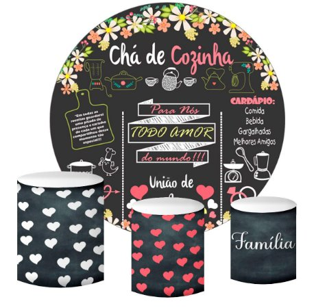 Kit Painel Redondo De Festa e Capas de Cilindro em tecido sublimado Chá de Cozinha