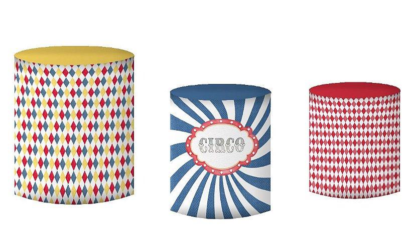 Kit Capas de Cilindro de festa em tecido sublimado Circo Colorido Aquarela
