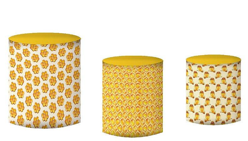 Kit Capas de Cilindro de festa em tecido sublimado Abelinhas