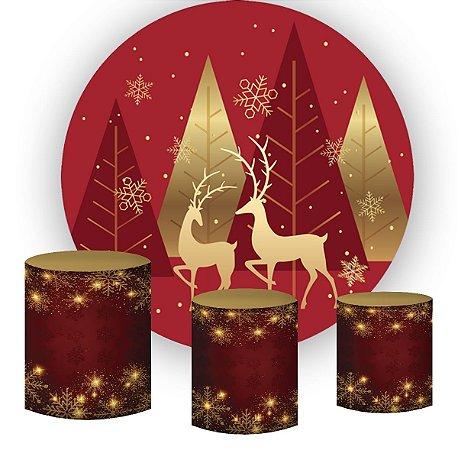 Kit Painel Redondo De Festa e Capas de Cilindro em tecido sublimado Renas do Papai Noel Natal