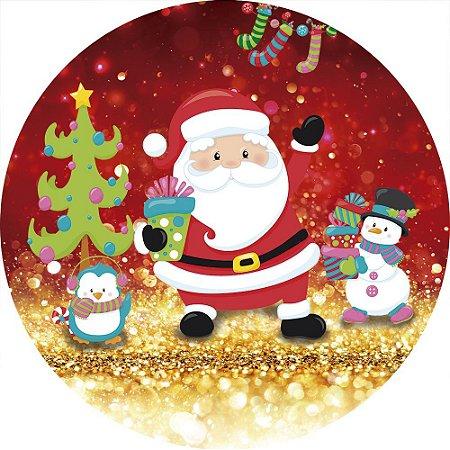 Painel de Festa Redondo em Tecido Sublimado Natal Cute