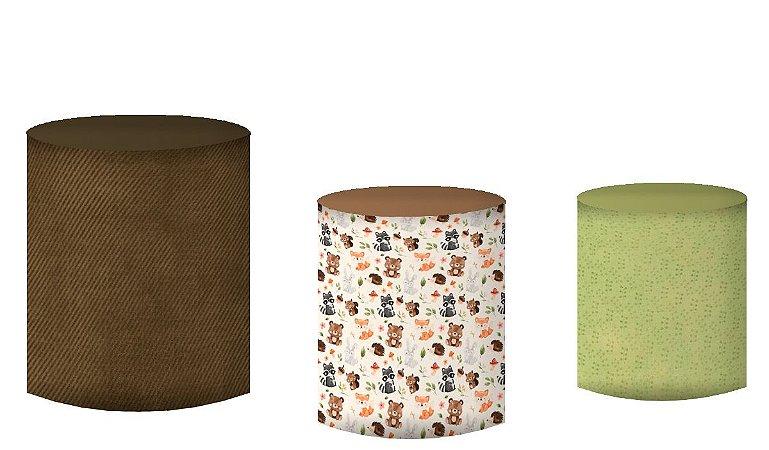 Kit Capas de Cilindro de festa em tecido sublimado Bosque Encantado