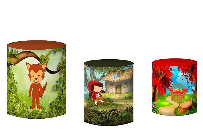 Kit Capas de Cilindro de festa em tecido sublimado Chapeuzinho Vermelho