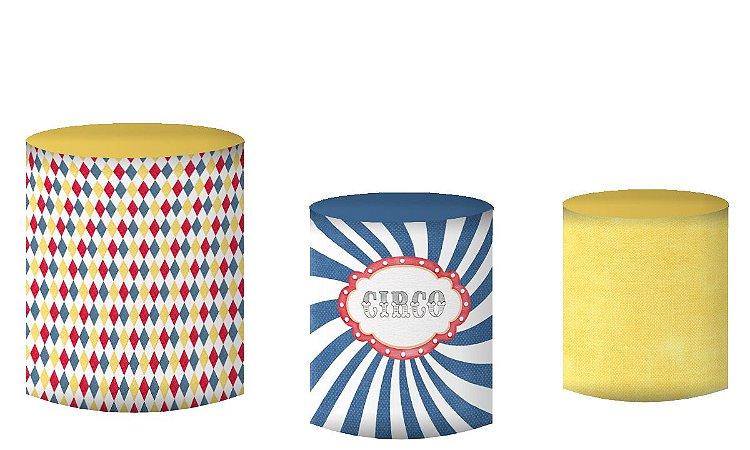 Kit Capas de Cilindro de festa em tecido sublimado Circo Colorido