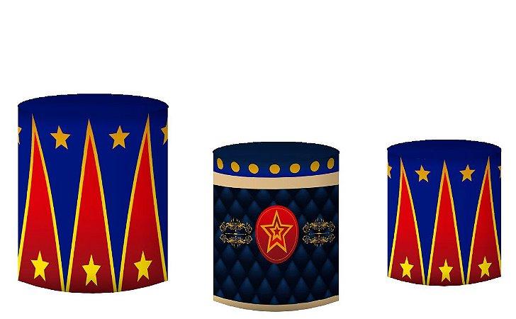 Kit Capas de Cilindro de festa em tecido sublimado Circo Mágico