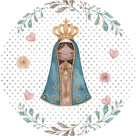 Painel de Festa Redondo em Tecido Sublimado Nossa Senhora Corações