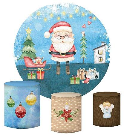 Kit Painel Redondo De Festa e Capas de Cilindro em tecido sublimado Natal Neve Aquarela