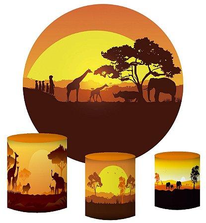 Kit Painel Redondo De Festa e Capas de Cilindro em tecido sublimado Safari Sol