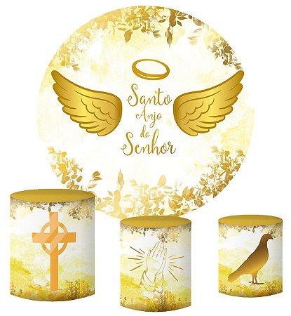 Kit Painel Redondo De Festa e Capas de Cilindro em tecido sublimado Santo Anjo