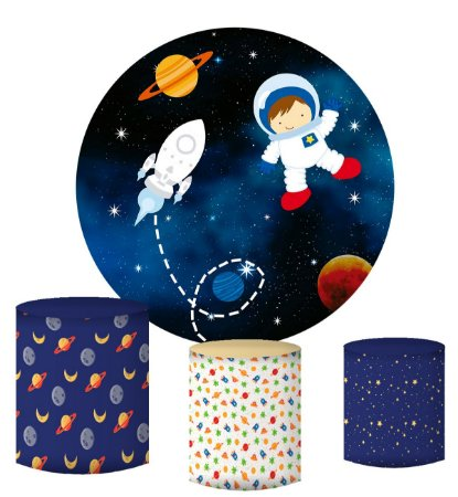 Kit Painel Redondo De Festa e Capas de Cilindro em tecido sublimado Astronauta Planeta