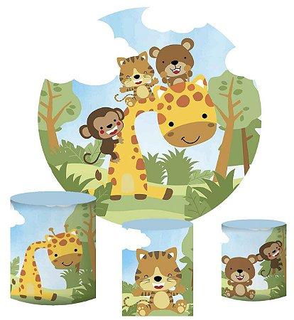 Kit Painel Redondo De Festa e Capas de Cilindro em tecido sublimado Safari Girafa