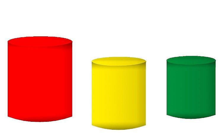 Kit Capas de Cilindro de festa em tecido sublimado Vermelho Amarelo e Verde