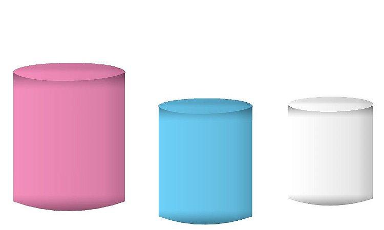 Kit Capas de Cilindro de festa em tecido sublimado Rosa Azul e Branco