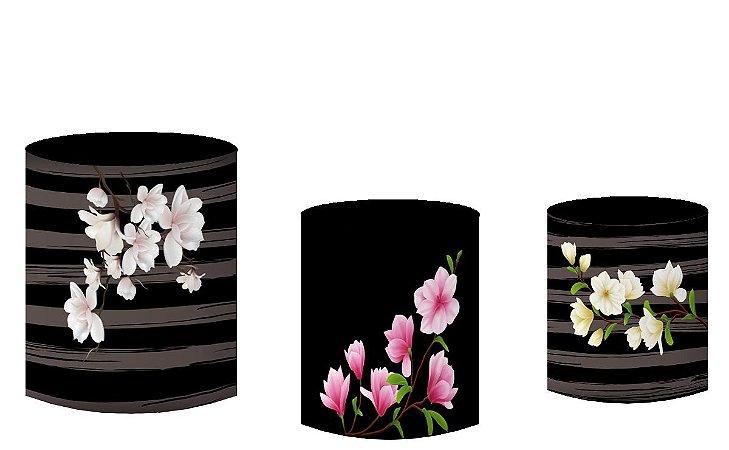 Kit Capas de Cilindro de festa em tecido sublimado Flores Magnólias